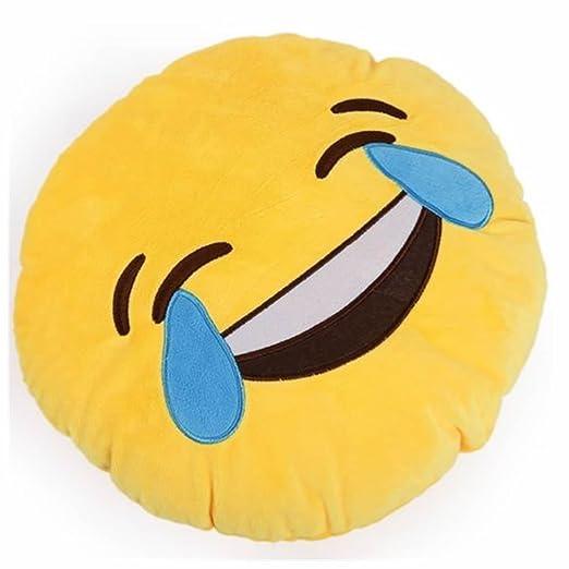 Cojín redondo con forma de emoticono, color amarillo (30 cm ...