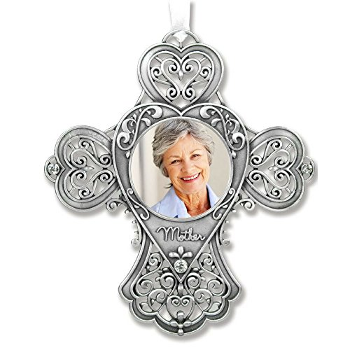 Mom Cross Photo Ornament - Metal Filigree and Crystals - Mom Sympathy Gift - Mother of the Bride Gift
