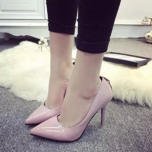 MissSaSa Damen Spitz high heel Lack-Pumps Pink