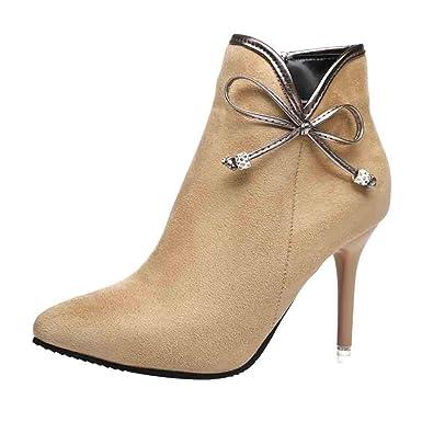 127bc7838f046f Fermeture éclair en Daim Talons Hauts, LuckyGirls Mode Nouveau Femmes  Chaussures Automne Hiver à Brides