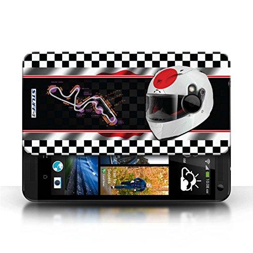 Etui / Coque pour HTC One/1 M7 / Japon/Suzuka conception / Collection de F1 Piste Drapeau