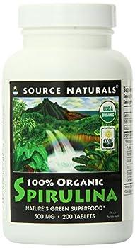 Source Naturals Spirulina 100% Organic 500mg, Nature's Green Superfood, 200 Tablets