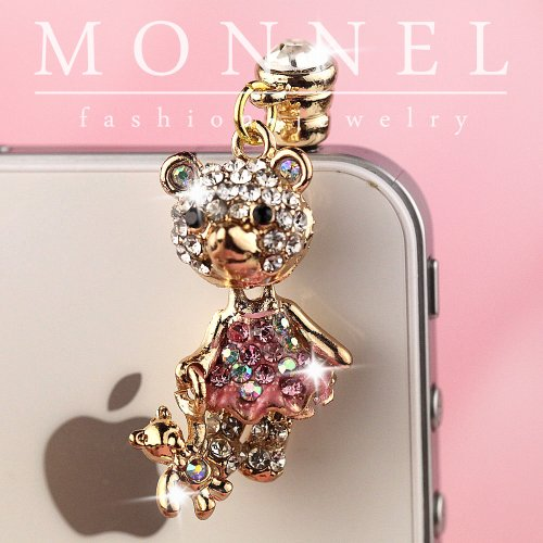 Ip625 Cute Teddy Bear Anti Dust Phone Plug Cover Charm for Iphone Smart Phone