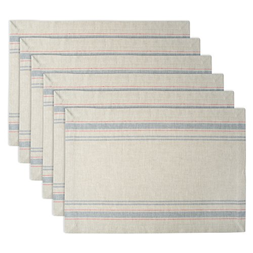 DII 100% Cotton, Machine Washable, Everyday French Stripe Placemat For Dinner Parties, Summer & Outdoor Picnics, Set of 6 - Gray