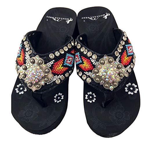 Montana West Women's Hand Beaded Flip Flop Sandals (7B(M), HotPinkBarrelBling) -
