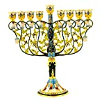 Ciel Collectables Floral Menorah, Hand Set Swarovski Crystal, Hand Painted Blue Color Enamel Over Solid Pewter Base, It Holds 9 Small Candles, L 7.50 x H 8.00