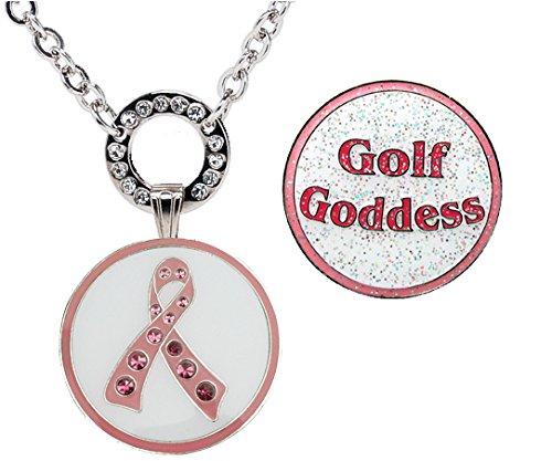 Navika Magnetic Ball Marker Necklace w/Pink Ribbon Adorned with Swarovski Crystal & Glitzy Golf Goddess