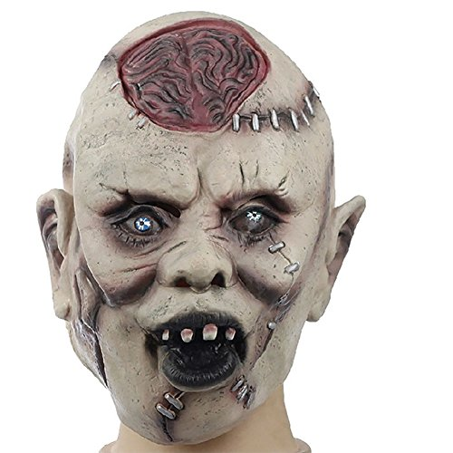 Scary Zombie Mask (Yarssir Men's Zombie Scary Halloween Mask Latex Mask with Crack Brain Toothy Creepy Party Mask)