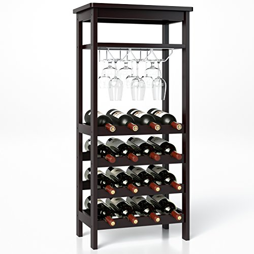 Homfa Bamboo Wine Rack Free Standing Wine Holder Display Shelves with Glass Holder Rack, 16 Bottles Stackable Capacity for Home Kitchen, Retro Color (Glass Rack Stackable)