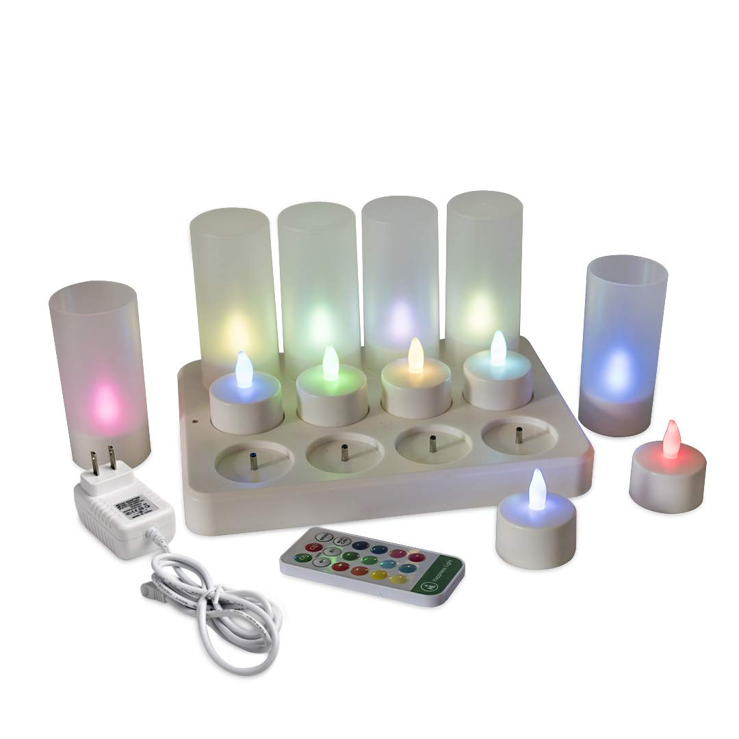 Safe DC RGB Light Rechargeable Tea Light Candles(12pcs) with Timer 18key Remote Control and Holders 2A 3.5Hours DC Charging Base,Flameless Flickering Valentine's Day Decorations Light