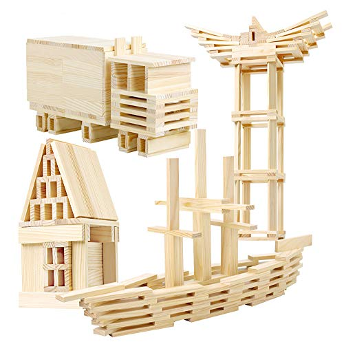 LEO & FRIENDS 120 Pieces Wooden Construction Building Blocks Set for Kids-Building Planks Set for Boys and Girls