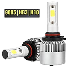 Tsmine S2 series HB3/9005 LED Headlights Fog Lights Lamp Bulb Kit(Pack of two bulbs),All-in-One Headlamps Conversion Kit,2000LM COB Beam Pure White 6500K-2 Year Warranty
