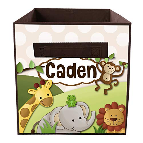 Toad and Lily Jungle Animal Safari Personalized Fabric Bin Kids Bedroom Baby Nursery Organizer for Toys or Clothing FB0032