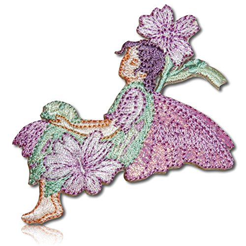 """[1 Count Single] Custom and Unique (3"""" x 3 1/2"""" Inch) """"Fantasy"""" Flower Blossoms Blooms Surrounding Sitting Winged Fairy Pixie Fae Girl Iron On Embroidered Applique Patch {Purple, Teal, Lilac & Peach}"""