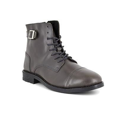 J.bradford Bottine  Cuir  JB-ALVARO Gris - Livraison Gratuite avec - Chaussures Boot Homme