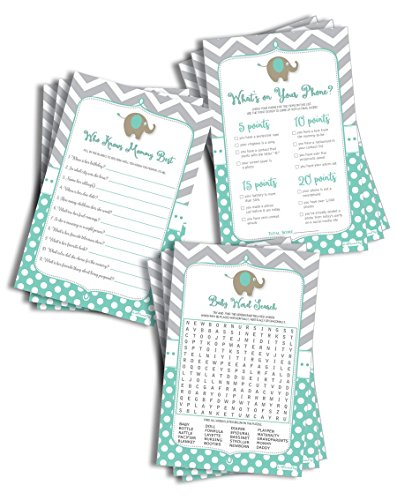 Large Elephant Baby Shower Game Pack - Mint (150-sheets) - 50 What's on Your Phone, 50 Who Knows Mommy Best, 50 Baby Word Search - Gender Neutral Baby Shower (Large Sheet Size) ()