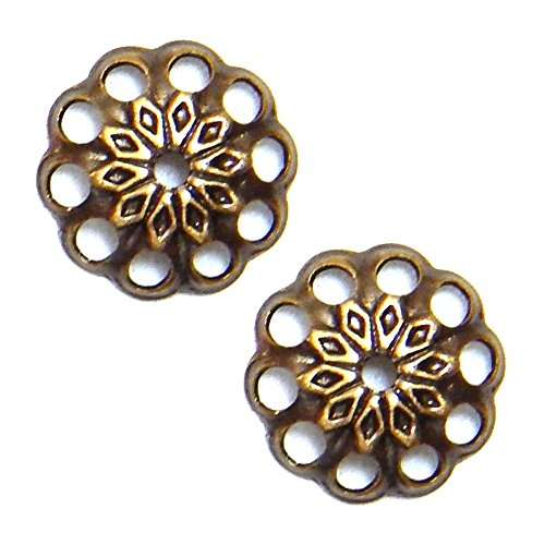 BEAD CAPs 8mm FANCY ROUND FILIGREE MEDALLION STAR VINTAGE STYLE 50pc (Antique Gold) (Medallion Filigree)
