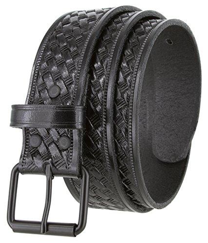 Black Roller Buckle Casual One Piece Full Grain Leather Basketweave Engraved Belt 1 1/2