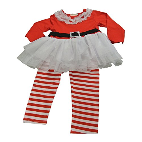 Cupid Reindeer Costumes Ideas - Toddler Little Girl Christmas Santa Top Tutu Dress with Red Striped Leggings (3/4)
