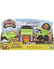 Play-Doh E4293 Wheels Gravel Yard Construction Toy with Non-Toxic Pavement Buildin' Compound Plus 3 Additional Colors