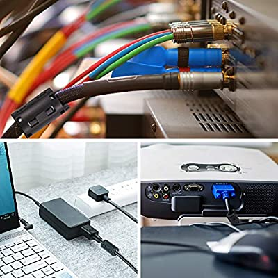 Dreamtop 10X Clip-on Ferrite Ring Core RFI EMI Noise Suppressor Cable Clip 11mm Inner Diameter Ferrite Chokes Black: Computers & Accessories