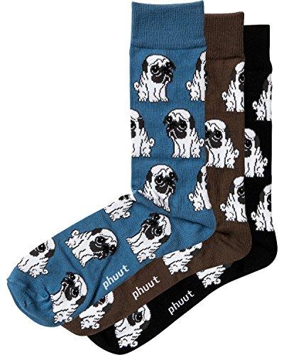 Phuut Men's & Women's Cute Pug Premium Cotton Socks (3 Pair Pack) Size 10-13