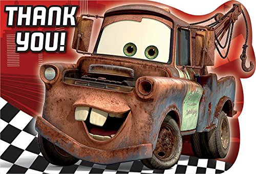 Disney Thank You Cards (Disney's Cars 2 Die Cut Thank You Cards 8)