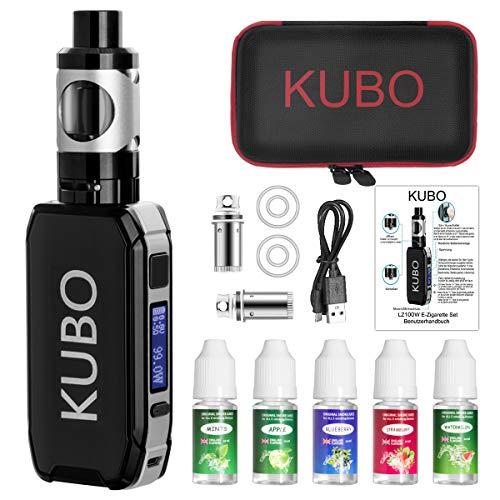 E Zigarette Shisha Starter Set und 5x10ml E liquid 100W Mod Kit mit 0,5 Ohm/ 3,0ml Verdampfer 2200mah Akku Starterset…