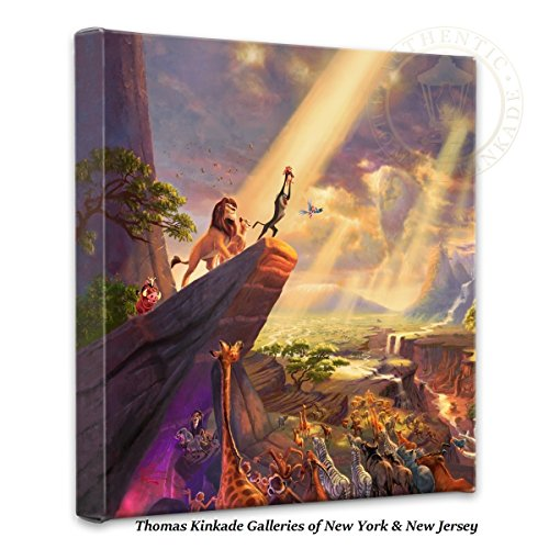 Thomas Kinkade 14x14 Gallery Wrapped Canvas Lion King (Bar Frame Certificate)