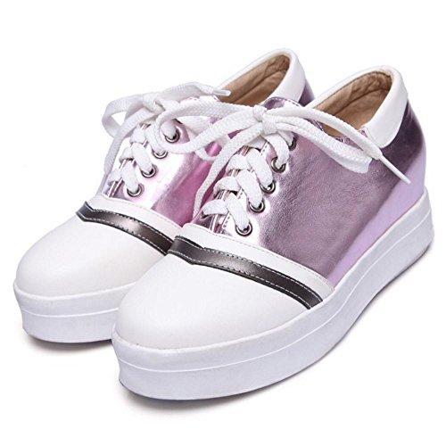 COOLCEPT Mujer Moda Cordones Court Zapatos En aumento Bombas Zapato Cerrado Zapatos Purpura
