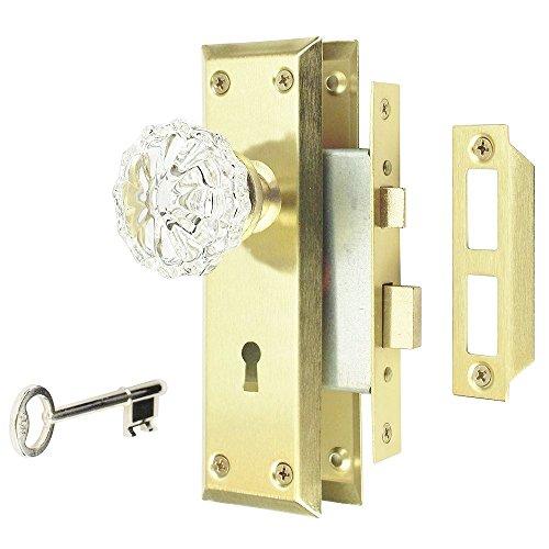 Gate House Glass & Polishd Brass Mortise Interior Keyed Locking Door Knob