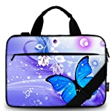iColor 15' Canvas Laptop Shoulder Messenger Bags 14' 15.4 Inch Office Briefcase 15.6' Computer PC Notebook Tablet Handle Cases Carrying Sleeve Cover Holder (14'~15.6', Blue Butterfly)