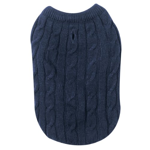 Zack & Zoey Acrylic Cable Knit Crew Neck Dog Sweater, XX-Small, Navy