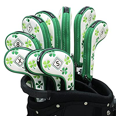 Craftsman Golf 9pcs ( 5,6,7,8,9,A,P,S,X ) Clover Shamrock White Golf Iron Headcovers Head Cover Set Suitable for Right and Left handed with Zipper Closure For Taylormade Callaway Titleist Cobra