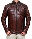 Decrum Mens Distressed Vintage Leather Jacket | Waxed Brown, XL