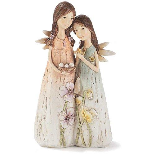 Angel Sisters Hlding Birds Nest Orange Blue 6 Inch Resin Tabletop Angel Figurine ()