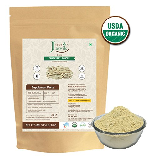Just Jaivik 100% Organic Shatavari Powder, USDA Organic, 1/2 Pound/227g, Asparagus Racemosus, Rejuvenative for Vata and Pitta that Promotes Vitality and Strength.