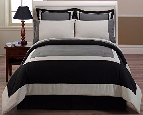 8pcs Black Gray Hotel Bed-in-a-Bag Comforter Sheet Set (8pcs Queen Bedding)