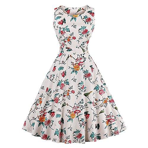Bowknot Tea Rockabilly Swing 1950s Dress White CharMma Floral Women's Vintage Off Party FpgXq