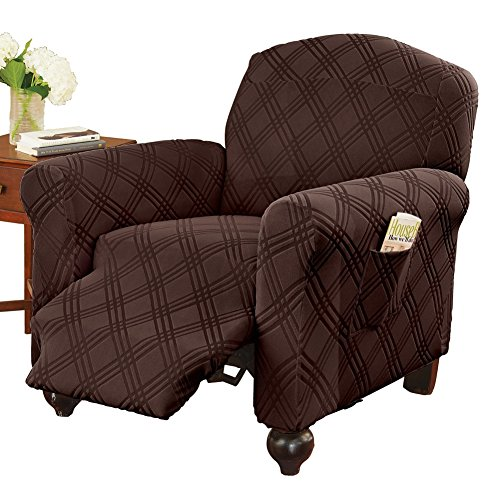 Collections Etc Double Diamond Form Fit Stretch Furniture Slipcover, Chocolate, Jumbo - Diamond Stretch Slipcover