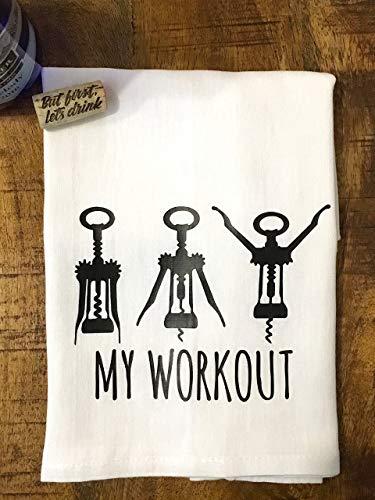 Wine Kitchen Towel - Funny Workout Flour Sack Towel - ()