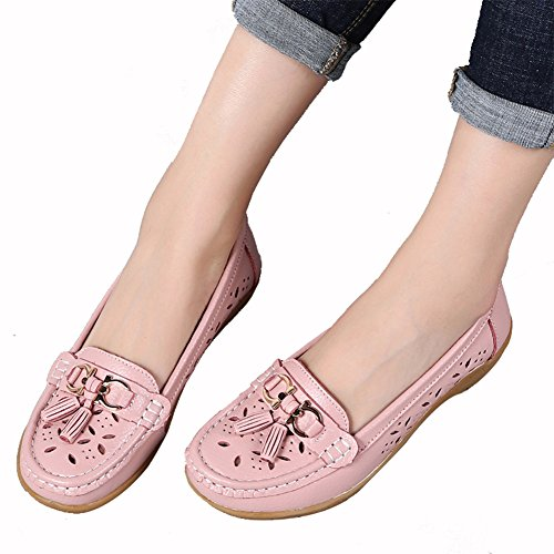Leather Floral Platform Loafers pink Womens CiF NiNE Fit Loafers Wedge Moccasins Tassel Wide AxnExPUq60