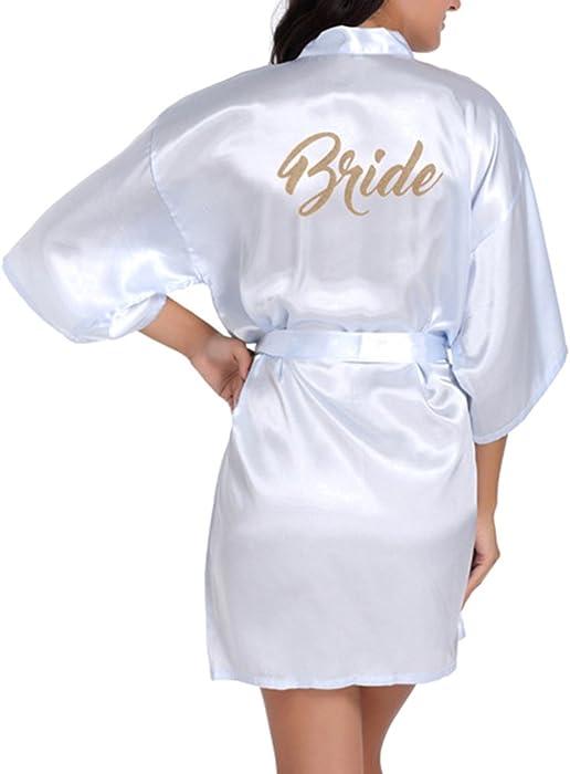 Juleya Wedding Bride Robe Satén rayón Albornoz camisón para Mujer Kimono Ropa de Dormir