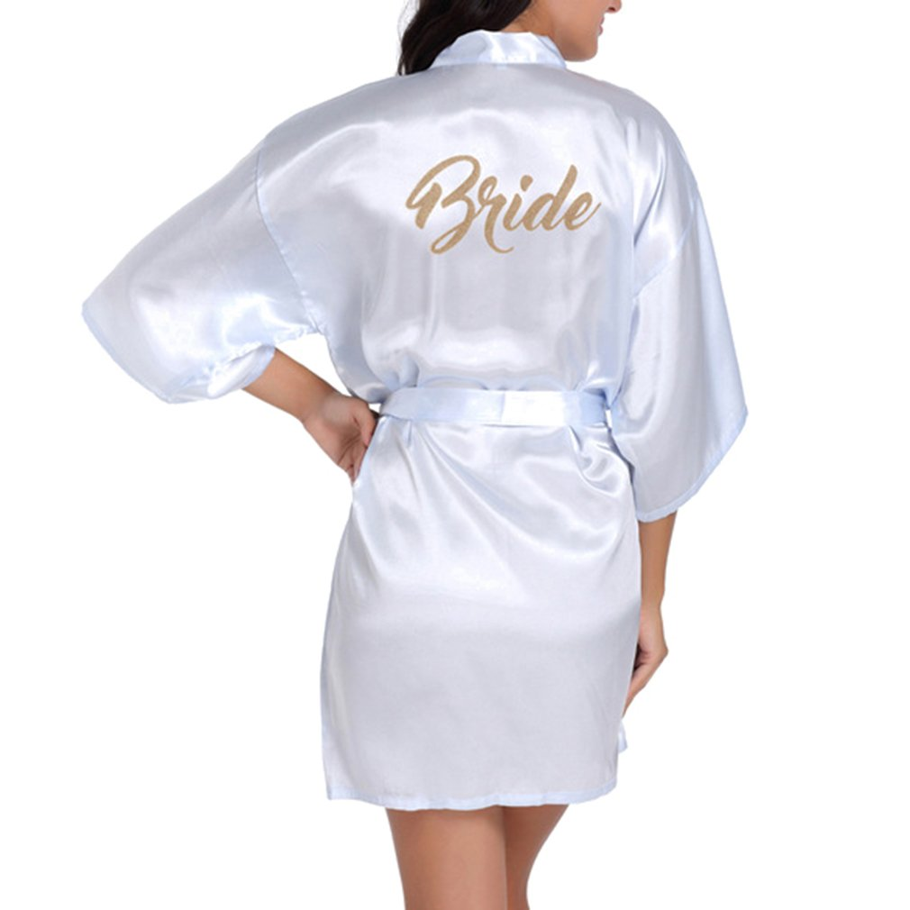 kunfang Mode Bridal Robe Lettre Bride Satin De Mariage Kimono Sleepwear Spa Robes pour Dames Manche 3//4 Robes de Kimono Col en V Pyjamas