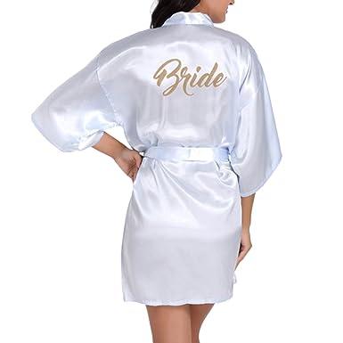 Kimono para Mujer, Kimono Pijama Corto Bata de Satén Kimono Cuello en V Oblicuo Vestido de Mañana Color Sólido Batas de Kimono: Amazon.es: Ropa y accesorios
