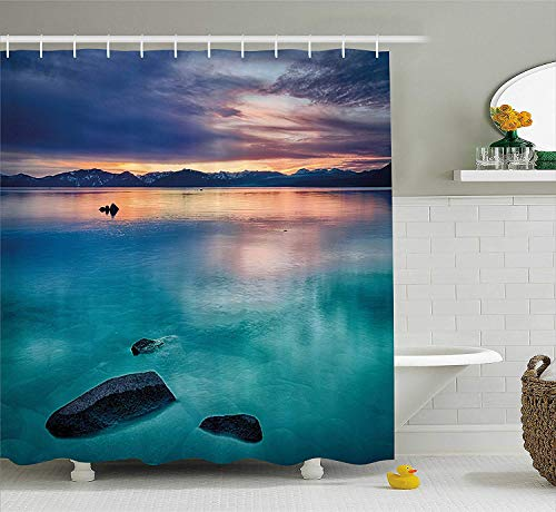 (Landscape Shower Curtain by Rocks Clouds in Lake Tahoe Sierra Nevada California USA Art Fabric Bathroom Decor Set with Hooks 70.8x70.8in Extra Long Blue Grey Sky Blue and Turquoise)