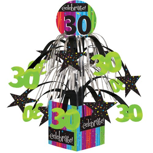 Creative Converting Party Decoration Metallic Foil Cascading Centerpiece, Milestone Celebrations 30th - 263083