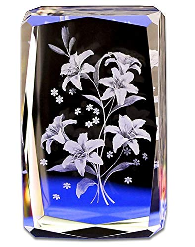 Crystal Glass Cube Eagle Model Paperweight 3D Laser Engraving Figurines Feng Shui Souvenirs Crafts (Lily Flower)