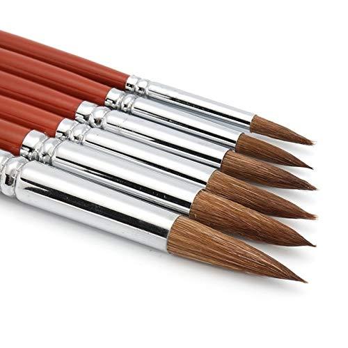Ochoos 6本セット 最高品質 バリュー コリンスキー セーブル ラウンドポイント ペイントブラシセット グワッシュ用 アクリル 水彩画 DIY クラフト   B07P86SLXS
