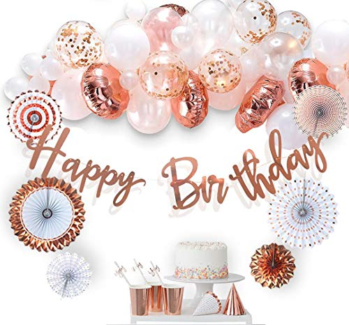 Happy Bday Banners (VIDAL CRAFTS 60 Pcs Set, Rose Gold Birthday Decorations, Paper Fans, Happy Bday Banner, Balloon Arch, Confetti Latex and Foil Balloons, Party Decoration Supplies for Girls and)